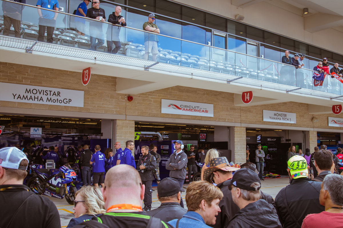 MotoGP Austin people looking at the garages