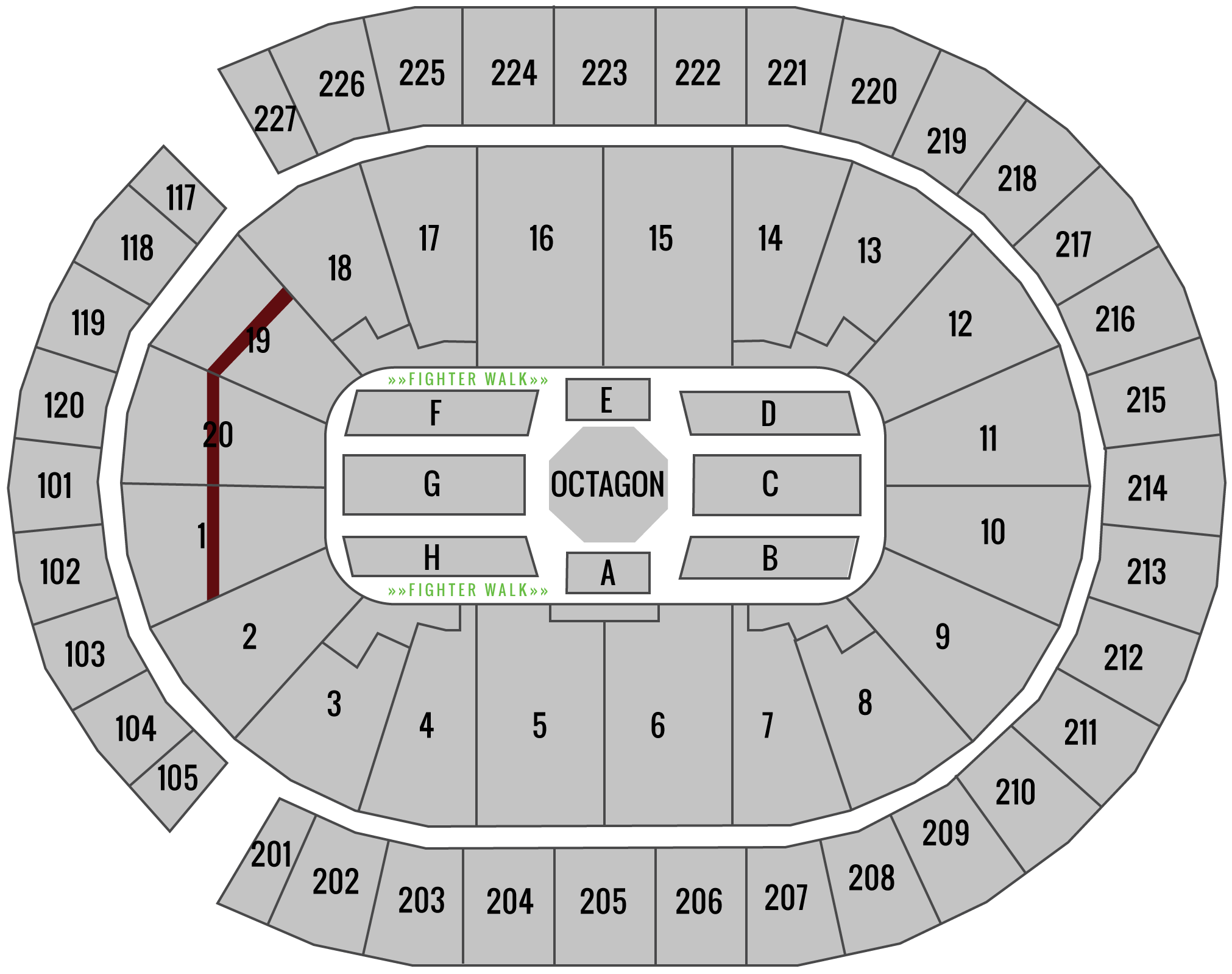 UFC 239 T-Mobile Arena Seating Chart TKO