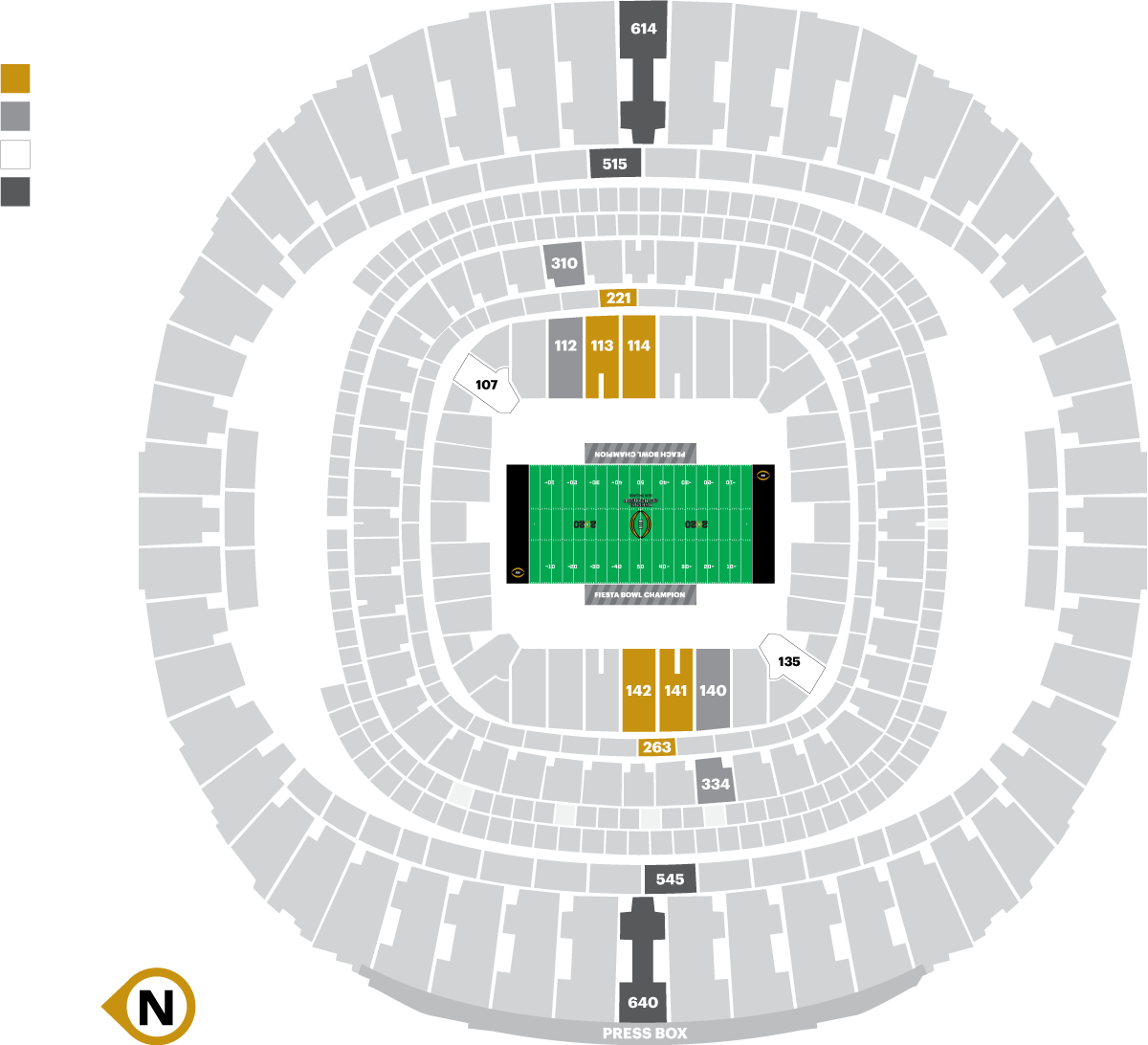 College football championship 2020 seating chart