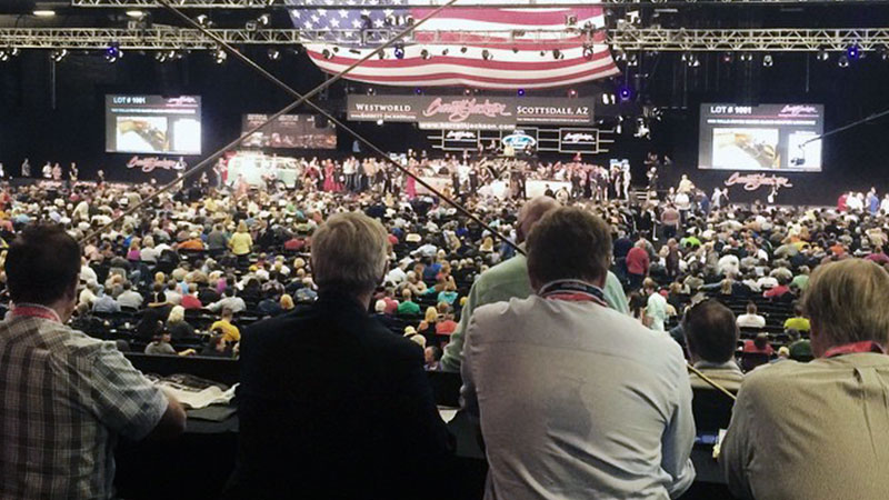 view of the barrett jackson auction stage from the VIP skybox