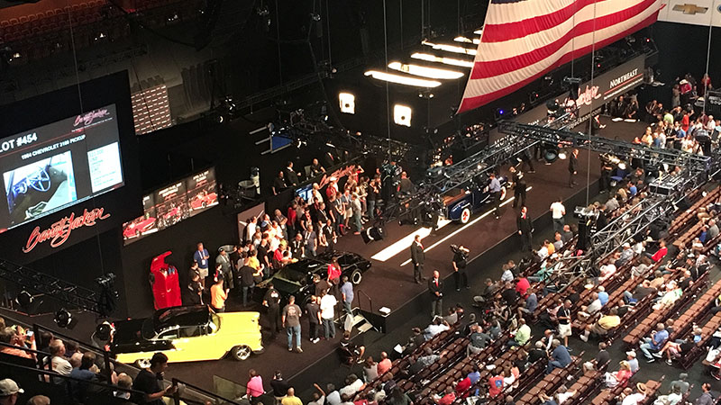 view of the barrett jackson auction stage