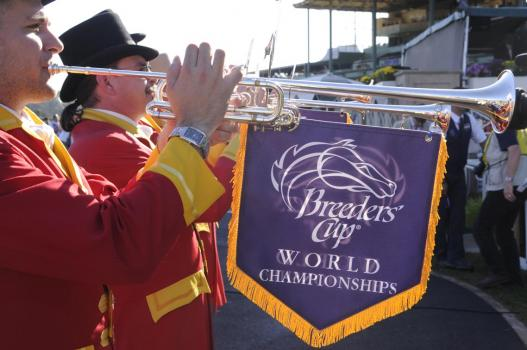 Breeders-Cup-Experiences-Santa-Anita-Horse-Racing-Trumpet-Players-with-Breeders-Cup-Flag