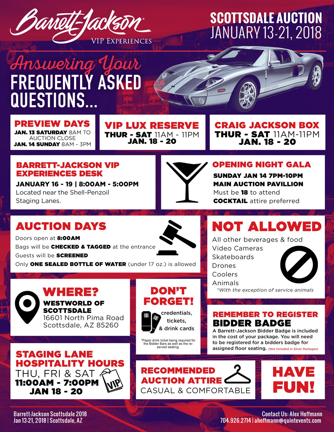 Barrett-Jackson Scottsdale Frequently Asked Questions