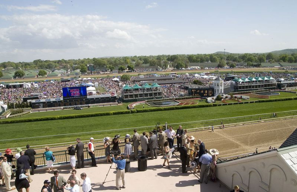 view from the derby room at the kentucky derby