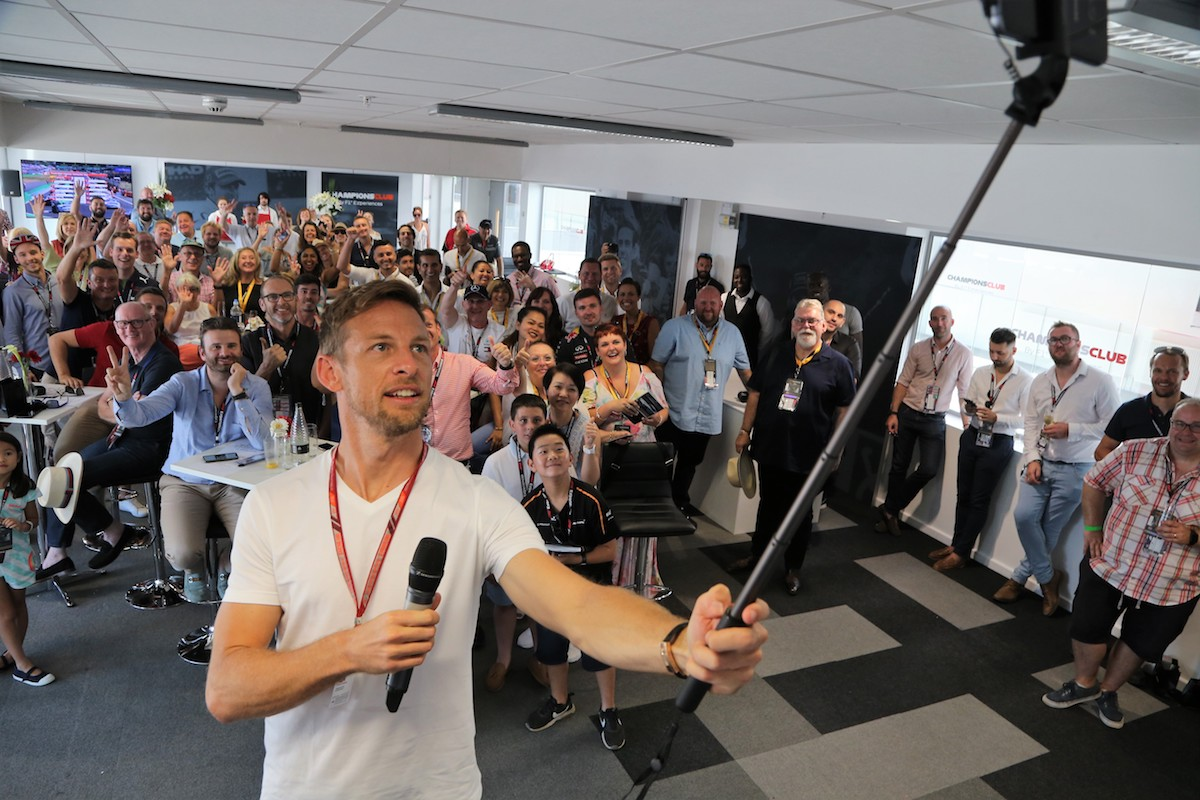 jenson button in the champions club at silverstone