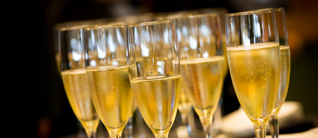 champagne glasses at exclusive luxury lounge at new york fashion week