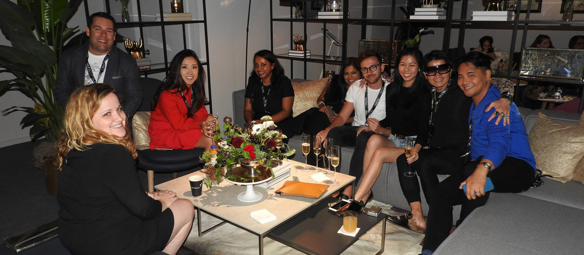 group photo at exclusive luxury lounge at new york fashion week