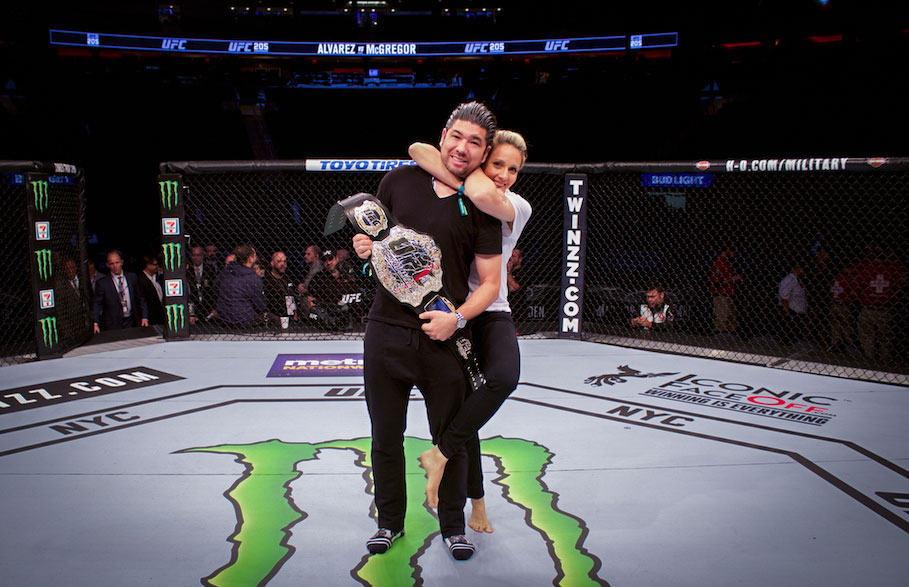 Photo with Championship Belt in the Octagon during UFC Octagon Experiences